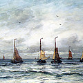 A Fishing Fleet by Hendrik Willem Mesdag