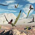 A Flock Of Thalassodromeus Pterosaurs by Mark Stevenson