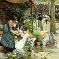 A Flower Market In Paris by Louis de Schryver