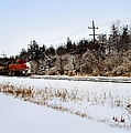 A Freight Train On A Snowy Day  by Tom Druin