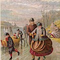 A Gentleman Helps A Lady Skate by Mary Evans Picture Library