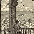 A Glimpse Of Charleston And Bay From St. Michael's Church 1872 Engraving By Harry Fenn by Antique Engravings