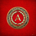 A - Gold Vintage Monogram On Red Leather by Serge Averbukh