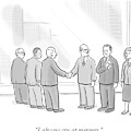 A Group Of People In A Boardroom Watch As Two Men by Paul Noth