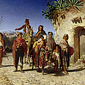 A Gypsy Family On The Road, C.1861 Oil On Canvas by Achille Zo