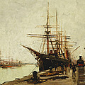 A Harbor by Eugene Galien-Laloue