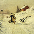 A Horse Drawn Sleigh In A Winter Landscape by Fritz Thaulow