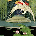 A House And Garden Cover A Bird Over A Pond by H. George Brandt