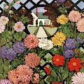 A House And Garden Cover Of Flowers by Ethel Franklin Betts Baines
