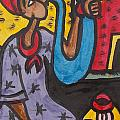 A King Messenger Blowing Flute by Okunade Olubayo