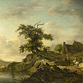 A Landscape With A Farm On The Bank Of A River by Jan Wouwerman