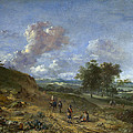 A Landscape With A High Dune And Peasants On A Road by Jan Wijnants