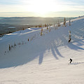 A Lone Skier Makes A Turn At Whitefish by Craig Moore