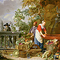 A Maid Washing Carrots At A Fountain by Nicolaas or Nicolaes Muys