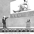 A Man Giving A Ted Presentation Points To An by Harry Bliss