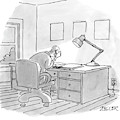A Man Sits At A Desk by Jack Ziegler