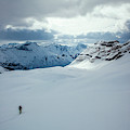 A Man Ski Touring Near Icefall Lodge by Mike Schirf