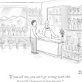 A Man Speaks With An Assistant At A Flower Shop by Paul Noth