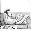 A Man Talking To The Cat Lying On His Stomach by Harry Bliss