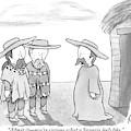 A Man Wearing A Snuggie Speaks To Two Men Wearing by Tom Toro