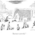 A Man With An Elephant Speaks On The Phone by Mick Stevens