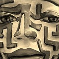 A Maze Ing Face 1 Sepia by Rob Hans