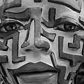 A Maze Ing Face Black And White by Rob Hans