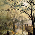 A Moonlit Stroll Bonchurch Isle Of Wight by John Atkinson Grimshaw