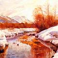 A Mountain Torrent In A Winter Landscape by Peder Mork Monsted