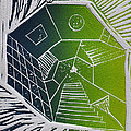 A New Dimension Blue And Green Linocut by Verana Stark