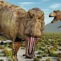 A Pack Of Tyrannosaurus Rex Dinosaurs by Mark Stevenson