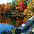 A Painting Autumn Lake And Bridge by Mike Nellums