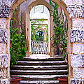 A Painting Villa Vizcaya Garden Arches by Mike Nellums