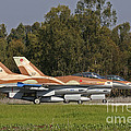 A Pair Of F-16c Barak Of The Israeli by Ofer Zidon