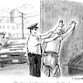 A Policeman Talks To A Man He Is Frisking Or by Pat Byrnes