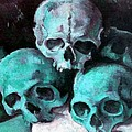 A Pyramid Of Skulls After Cezanne by Taiche Acrylic Art