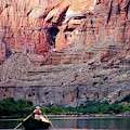 A River Guide Rowing A Wooden Dory by Kyle George