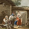 A Russian Peasant Family, 1823 by English School