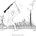 A Safari Hunter Runs Toward His Wife Holding by Liana Finck