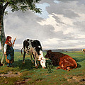 A Shepherdess With A Goat And Two Cows In A Meadow by Rosa Bonheur