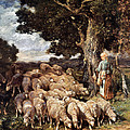 A Shepherdess With Her Flock Near A Stream by Charles Emile Jacque