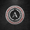 A - Silver Vintage Monogram On Black Leather by Serge Averbukh