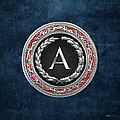 A - Silver Vintage Monogram On Blue Leather by Serge Averbukh
