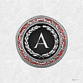 A - Silver Vintage Monogram On White Leather by Serge Averbukh
