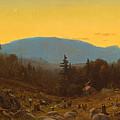 A Sketch Of Hunter Mountain. Catskills. Twilight On Hunter Mountain by Sanford Robinson Gifford
