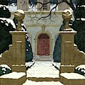 A Snow Covered Pathway Leading To A Mansion by Pierre Brissaud