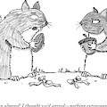 A Squirrel Couple Exchange Gifts Of An Acorn by Andrew Hamm