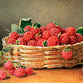 A Still Life Of Raspberries In A Wicker Basket  by William B Hough