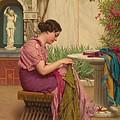 A Stitch Is Free Or A Stitch In Time 1917 by John William Godward