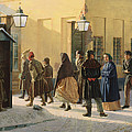 A Street Scene, Outside A Prison, 1868 Oil On Canvas by Vasili Georgievich Malyschev
